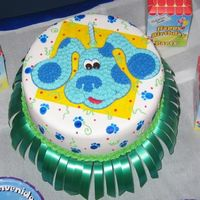 Blue Clues A little bit of everything! Fondant covered cake, BC Blues Clues, painted details, even a little color flow.