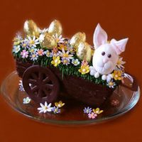 Happy Easter Bunny! The actual cake is the carriage! The cake was covered with chocolate and then textured. The bunny was made with gum paste. All flowers are...