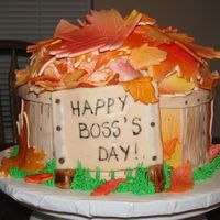 Fall Boss's Day Cake   I made this cake for my boss's at work...it was a huge hit!! Thanks for the ideas from this site!!
