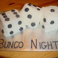 Bunco Night Three white dice cakes with buttercream icing and detail