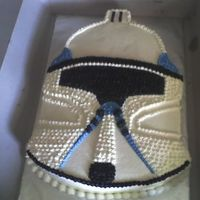 Star Wars Clone Trooper Helmet 12x18 cut-out with buttercream icing and detail