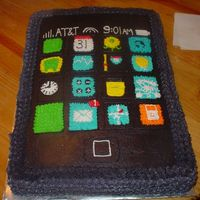 Iphone Birthday 12x18 white cake with buttercream icing and detail