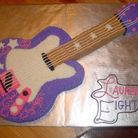 Hannah Montana Guitar 12x18 cut-out with buttercream icing and detail