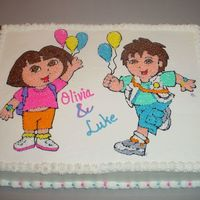 Dora & Diego Birthday 12x18 white cake with buttercream icing and detail