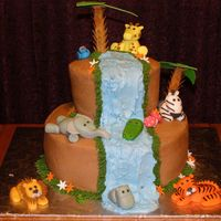 Jungle Baby Shower Cake buttercream with fondant animalsinspired by dods jungle cake