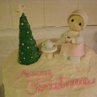 Precious Moments Coffee Club Cake  Cream cheese icing, lttle girl made of fondant, gumpaste. My MIL wanted a coffee club cake @ Christmas, when I asked her what she wanted...