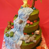 Jungle Cake 3 tier jungle cake for my daughters 15th birthday. All buttercream, fondant animalsThank you dods for the inspiration for the animals!!