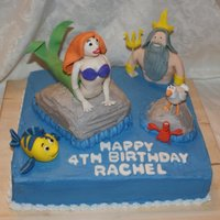 The Little Mermaid  This cake was made for my younger daughter's fourth birthday party! It is a 12 inch double layer square cake, half chocolate, half...