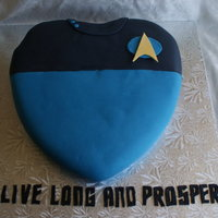 Star Trek Cake, Spock Themed...  Star Trek Cake, Spock Style - A single layer chocolate heart-shaped cake covered with vanilla butter cream icing, than home made fondant. (...