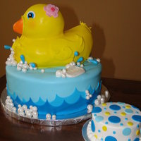 Rubber Duckie Made for a first Birthday....covered in fondant...fun little cake!