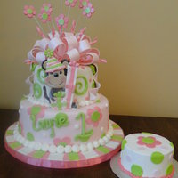 Little Monkey First Birthday Cake...gotta love the little monkey! Covered in fondant. TFL! Sorry colors a little washed out in picture!
