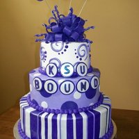 Ksu Bound! Made for 2 girls who just graduated high school and are heading to K-State! Purple Pride!!!! covered in buttercream with fondant accents.