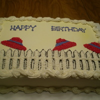 Red Hats In The Wind Sheet decorated for a Red Hat birthday event, all BC with the fence being hand drawn. TFL