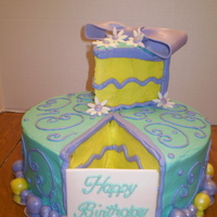 A Piece Of Cake... BC iced cake in purple,teal and yellow with fondant bubbles as the border. Bubbles were painted with shimmer dust to add sparkle. TFL
