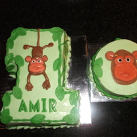 "Monkey 1St Birthday The #1 cake was 5"" wide by 8.5"" tall, chocolate with chocolate filling and vanilla buttercream icing... all soy. The 5""..."