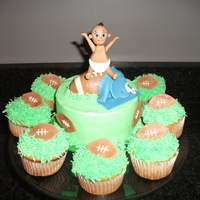Football Baby Shower  I made 3.5 dozen cupcakes in a variety of flavors... vanilla with vanilla buttercream, chocolate with vanilla buttercream and lemon with...