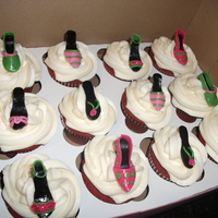Cupcake For A Diva.. Shoe Toppers! I made a dozen red velvet cupcakes each with a shoe topper (all pink and green). I did 6 designs for the shoes, all made of MMF.