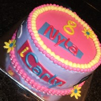 "Icarly Birthday 8"" Vanilla buttercream with fresh strawberry filling. All accents were made of MMF. I really liked how the two-toned frosting turned..."