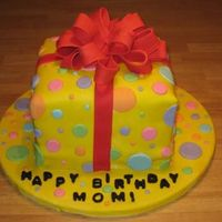 Present   I made this cake for my mom's birthday. This was my first attempt at using an airbrush to color the fondant.