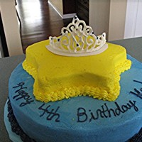 Princess Crown Cake Crown is made of RI. Cakes are choc WASC. Frosted in BC.