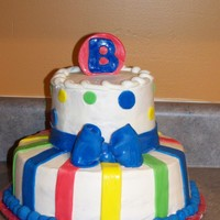 Baby Boy Shower Cake primary colors used fondant details