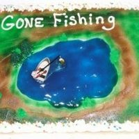Gone Fishing White cake cherry filling and bc icing . this for a friends father who is retireing and plans to spend alot of time fishing.