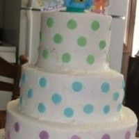 Blues Clues With Pola Dots 3 tier (8-6-4) all white cake with bc icing . the polka dots are wiltons large sprinlkes (i love them). this was for my daughters 2nd...