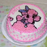 "Pink Poodle ""squish Cake"" vanilla cake with bc icing . picture of pink poodle off the napkin drawnin piping gel. this was for my daughter to squish for her 1st b-day..."