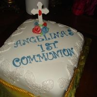 First Communion Cake This is not how I would have made it, but I was told by my friend that her daughter specifically wanted a white square cake, with a gold...