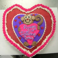 Monkey Love Cupcake Cake for a little girl who is lucky to made it to her 3rd birthday...She had 13 surgeries, and mostly blind...However she loves...