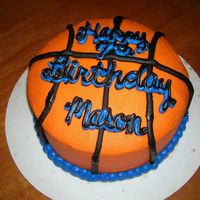 "Basketball Birthday Two 8"" round cakes w/ BC icing. I hand carved the top edge to have a slightly rounded effect to the cake...Somehow, it just doesn&#039..."
