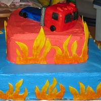 Transformer Cake Transformer and flames are made of fondant and then painted.