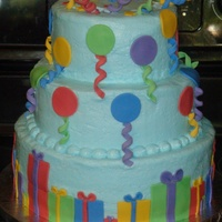 Balloon Gift Cake Cake is for a 2 year old's birthday who LOVES balloons. Decorations are fondant/gum paste blend. TFL!!