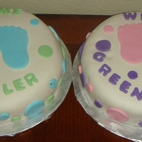 Baby Shower Cakes Baby Girl & Baby Boy family shower cakes. I took these pics after several different little ones had poked at and stuck their hands in...