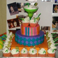 Fiesta Margarita Cake Birthday girl wanted a fiesta / margarita cake with purple, turquoise, orange, lime green & hot pink - so this is what I came up with....