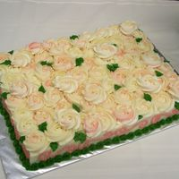 Pink And White Rose Swirl Cake I made this cake for a retirement party... one of two cakes. I think the technique is a keeper! Definitely different.