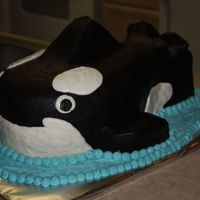 Shamu Orca Whale Cake This was a cake for a Shamu/seaworld party. It had matching fish cupcakes. I was REALLY pleased with how this turned out. It was risky!