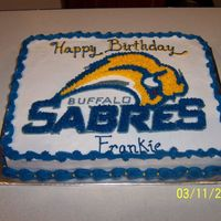 Buffalo Sabres Cake I made this cake for two kids birthdays last year. It is a 12 x 18 cake. I used a projector to put the sabres logo on the cake. It is done...