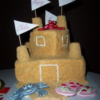 "Sand Castle Cake Thanks to all the wonderful ideas from the various sand castle cakes here. Bottom tier is 8"" sq, top tier is 4"" sq - both are..."