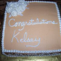 "Congrats Kelsey 10"" square (in my new 3"" deep pan that I LOVE!) french vanilla cake, with almond buttercream icing and strawberry filling (the..."