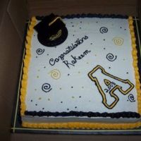 Asu Graduation Sheet Cake 12x12 sq french vanilla sheet. Indydebi's BC. Hat is plastic.