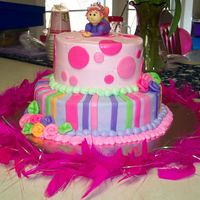 Fancy Nancy   Chocolate chip cookie cake with buttercream icing and mmf decorations.