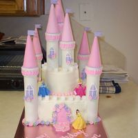 Princess Castle  This was for my daughter's 3rd birthday. The cakes were 10 in and 6 in. The turrest were paper towel tubes with cake and sugar cones...