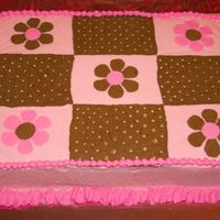 Pink & Brown   Chocolate cake with buttercream icing. It was decorated by request to look like the baby's bedding.