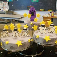 "Outer Space I did this cake for my son's school. Their theme for the year was ""Space"" and they had a special ""theme rotaion day&..."