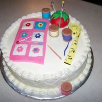 Quilting Cake Made for a friend who loves quilting. Lemon cake with lemon buttercream.