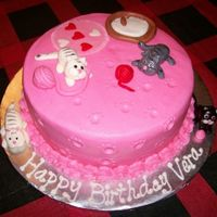 Kittens Cake  Wasc with buttercream and fondant accents. Birthday cake for a 2 yr old. First fondant kittens. Thanks to all that have posted pics of your...