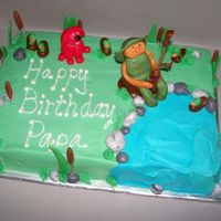 Fishing Cake Wasc with buttercream frosting and fondant accents. Thanks to all that have posted fishing cakes, I think I looked at all of them.