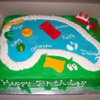 Swimming Pool Birthday Marbled WASC with buttercream frosting and fondant accents.