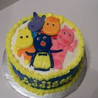 Backyardigans Chocolate Fudge Cake with buttercream icing and fondant accents.